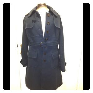 Loft blue trench coat w/ tortoise buttons /buckle